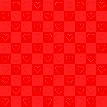 red dice: Valentine red background with dark and light red dice in a row with alternating dark and light heart in squares