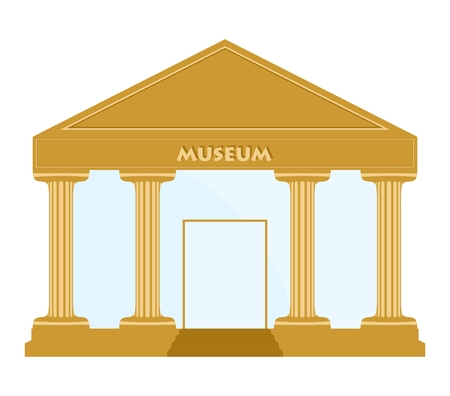 glass doors: Gold museum building with columns, stairs, doors with glass panes and museum inscription on a white background Illustration