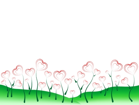 green hills: Landscape with green hills and flowers from the heart on a white background