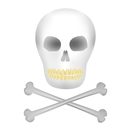 yellow teeth: Human skull with dark holes for eyes and nose with yellow teeth and crossbones under the skull on a white background