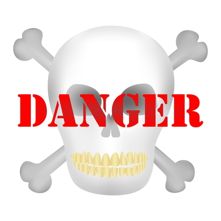 poisoning: Human skull with yellow teeth and dark holes for eyes and nose with two crossed bones of men and red danger notice Illustration