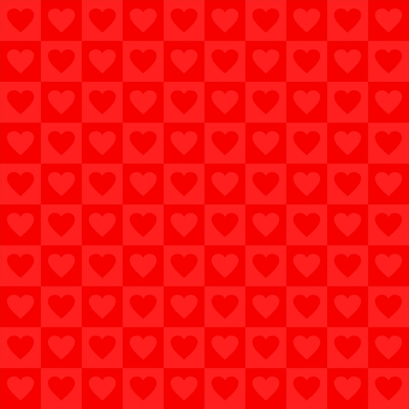 alternating: Red Valentines day background red light and dark squares in a row and under each other alternately with red hearts alternating dark and light Illustration