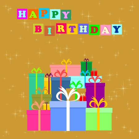 gold banner: Birthday greeting to a bunch of colorful gifts with colorful ribbons on a gold background with shining stars and colored inscription Happy Birthday in colored squares