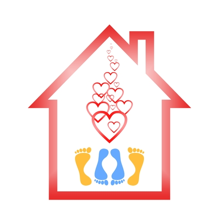 poise: Red silhouette of a house with a roof with increasing hearts symbol of love and the two pairs of orange and blue legs under them lying down on a white background