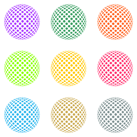 Set of colored balls composed of colored rings on the white ball on a white background