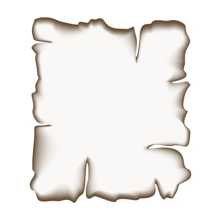scorched: Scorched around sheet of paper on a white background Illustration