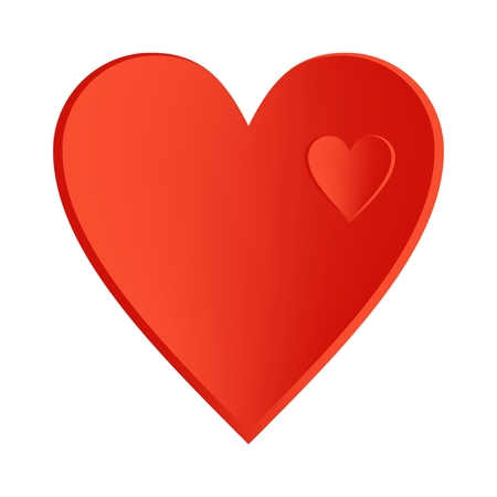 right side: A big red heart with small hearts right side up in a large heart on a white background