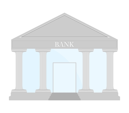 glass doors: Silver Bank building with stairs, blue glass, doors and roof gray lettering bank under the roof with columns on a white background