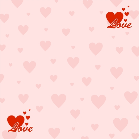increasing: Valentines background with pink hearts and two red icons in the corners with the words love and with increasing hearts