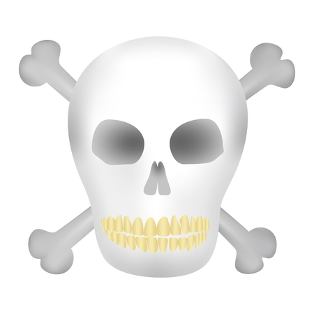 yellow teeth: The dark human skull with holes from the eyes and nose with yellow teeth and crossbones a skull on a white background