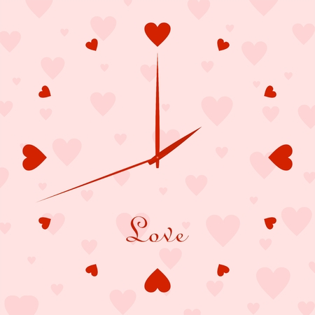 second hand: Valentine clock with dial of a red hearts with the hour hands and the second hand with a pink background with a pink hearts with the word love