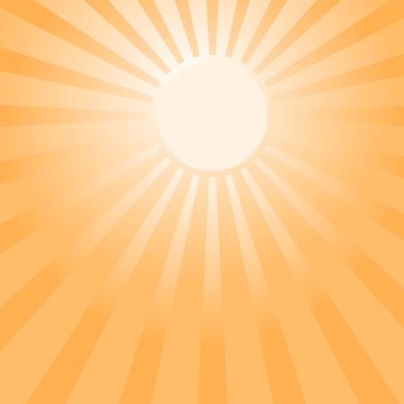 beam with joy: Orange glowing sun in orange sky with bright sun in the middle and orange ray of light around the sun