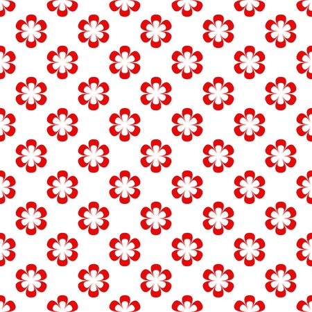 sample environment: Background composed of red flowers in a row and alternately under each other on a white background