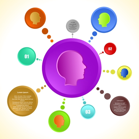 serial: Infographic design vector with colorful human heads in a circle with a description of the color wheel and a serial number with purple circles in the middle of a human head