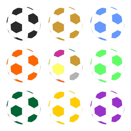 inflated: Set of colorful inflated football balls in a row and one below the other on a white background Illustration