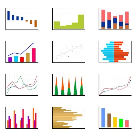 Satz von verschiedenen Balkendiagramme von verschiedenen Farben und Formen in einer Reihe und untereinander auf einem weißen Hintergrund