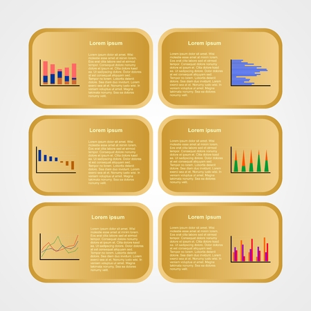 Set a variety of different colored graphs for infographics in gold squares with the description on a gray background