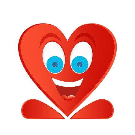 big figure: Joyful figure red heart with blue eyes, big smile with white teeth and red tongue with red legs and white glare in the eyes on a white background