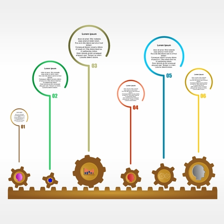 serial: Infographic design with brown gears on brown rack and colored heads, charts and colorful gears with a description of colored bubbles and serial number