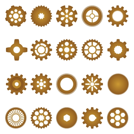 toothe: Brown set of inner and outer gears of different shapes and sizes with different numbers of teeth, and the internal shape