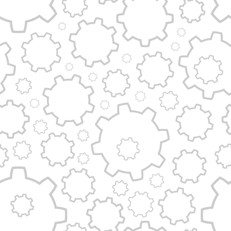 toothe: Background with gray contours gears of different sizes on a white background