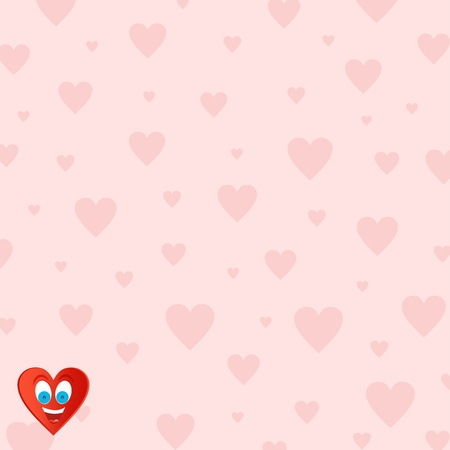lower teeth: Pink Valentine background for those in love with pink hearts of different sizes with a joyful heart face with blue eyes and an open mouth with tongue and teeth in the lower left corner