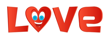 big smile: Red inscription love with heart of instead letter o with blue eyes and a big smile with teeth and tongue on a white background Illustration