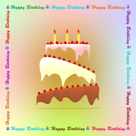 frosting: Colored birthday greeting with a birthday cake with colored frosting and three candles with fruits with cherries with inscription happy birthday with some gift with ribbon