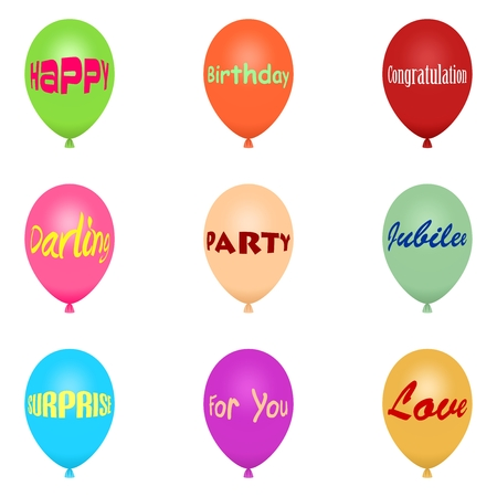 inflated: Set of colorful flying balloons inflated with various inscriptions of love, anniversary, shares in a row and one below the other on a white background Illustration