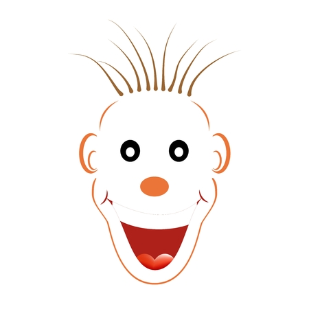 large mouth: Laughing white face with an orange contour with black eyes, an orange nose, brown messy hair, ears and large orange laughing open mouth with teeth and tongue