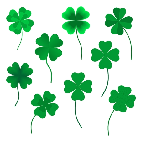 four leaf clovers: Set of green four leaf clovers in various shapes made up of a heart with green stems on a white background