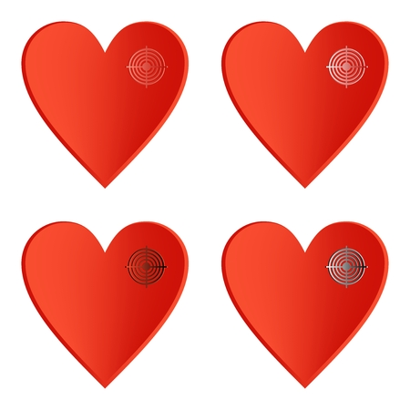wrath: Set of red heart icons with color target on the right side on a white background