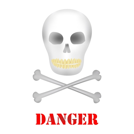 dirty teeth: Human skull with dark holes for eyes and nose with yellow teeth and two crossbones under the skull with red danger lettering on a white background