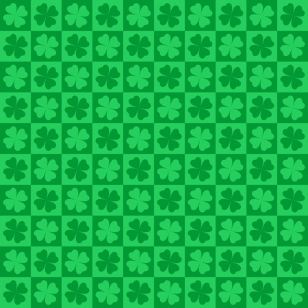 four leaf clovers: Green nature background with dark and light green four leaf clovers in green squares alternately light and dark in a row and the row