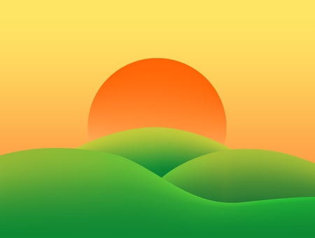 yellow sky: Summer country landscape with grassy green hills at sunset with orange and yellow sky sun