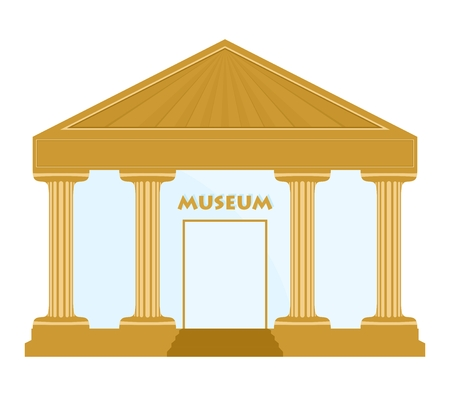 exhibit houses: Gold museum building with columns, roofs, stairs and glass door with a sign over the door museum on a white background