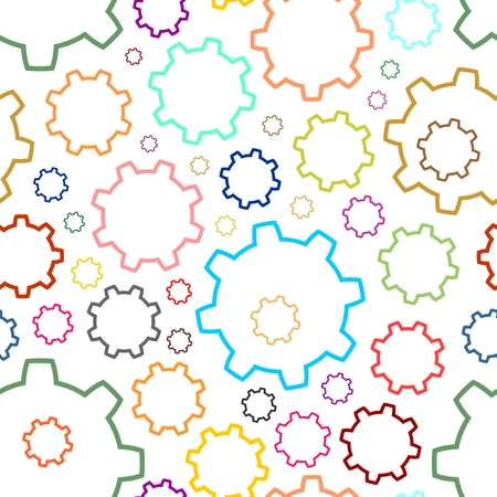 engineered: Background from color contours gears of different colors on a white background