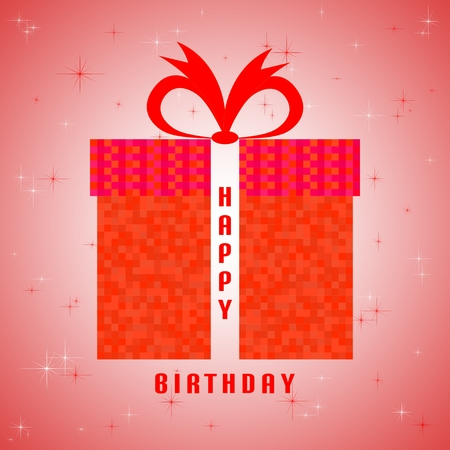 glistening: Red birthday greeting with red birthday gift of a red square with a red ribbon and glistening white and red stars with the inscription happy birthday