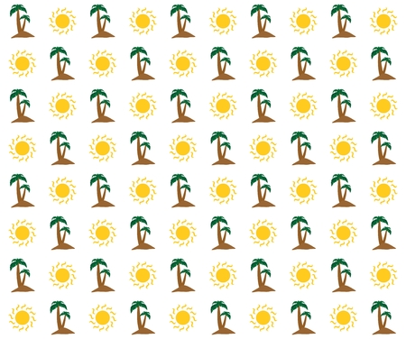 pacific: Sunny summer holiday background with shining yellow sun and brown sandy island with two green palm trees with green leaves and brown trunk in a row alternately on a white background Illustration