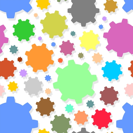 engineered: Colorful background from colored gears of different sizes and colors with shadow on white background