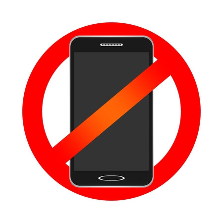strikethrough: Prohibition sign with a black cell phone bans entry with strikethrough smartphone a red sign on a white background