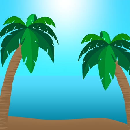 sandy: Summer holiday landscape with sandy beach coast with two palms with leaves and brown stem to the side with a blue surface of the sea and the blue sky with the sun shining over the horizon