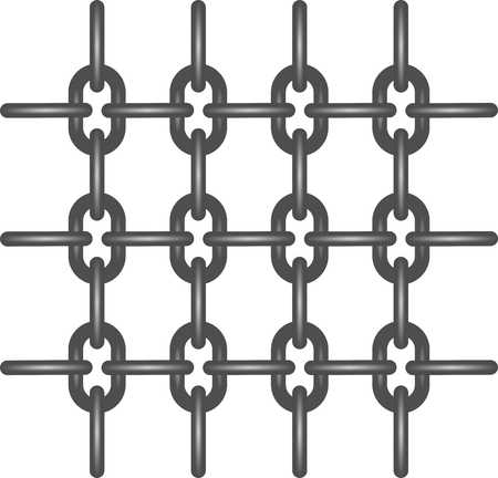 steel grille: Iron chain with iron link connected in a row horizontally and vertically alternately.Iron grille made of steel chains on a white background