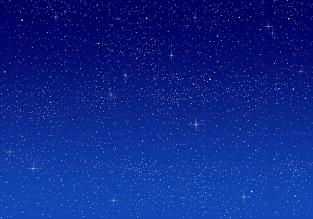 lustrous: Beautiful romantic bright blue sky at night with a large number of illuminating white lustrous stars Illustration