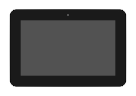 Realistic black tablet off a dark screen with a silver frame and a camera at the top center on a white background