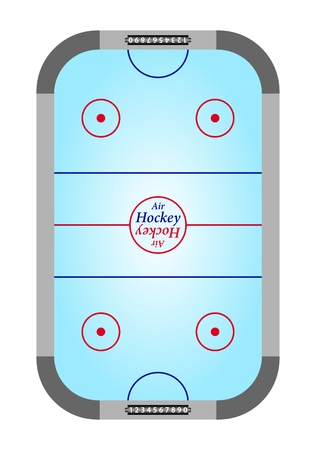 wicket: Blue table air hockey with rinks and gray with black counters of on the wicket blue hockey surface and the red and blue lines on a white background. Top view of Air Hockey