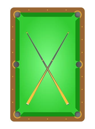 cues: Top view of brown wooden billiard table with green cloth and green rinks and two crossover cues pool table
