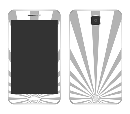 button front: White design mobile phone speaker with gray rays from the center of the button front and behind the camera on a white background Illustration