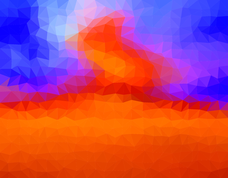 blue flame: Orange background with fire and burning flame with a blue sky made up of triangles. Abstract backdrop