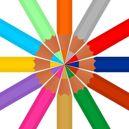 writing instruments: Set of colored pencils sharp stored in the middle of the circle on a white background Illustration